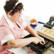 Cashier in Cafeteria — Stock Photo #6517004