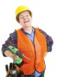 Construction Worker Loves Her Job — Stock Photo #6517014