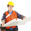 Construction Worker Reads Plans — Stock Photo #6517016