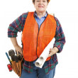 Female Construction Contractor with Blueprints — Stock Photo
