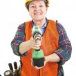 Female Construction Worker with Drill — Stock Photo
