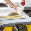 Sawing Through Laminate — Stock Photo
