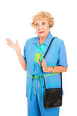 Cellphone Senior Talks with Hands — Stock Photo