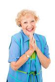 Móvil senior mujer - éxtasis — Foto de Stock