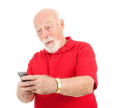 Старший мужчина - удивительно текстовое сообщение — Стоковое фото