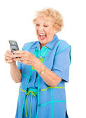 Senior Woman - Funny Text Message — Stock Photo