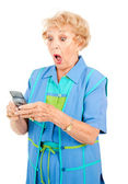 Senior Woman - Shocking Text — Stock Photo