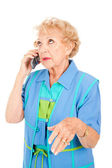 Senior Woman Gossips on Cellphone — Stock Photo