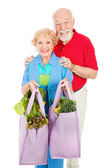 Seniors and Reusable Shopping Bags — Stok fotoğraf