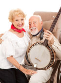 Country Seniors with Banjo — Stock Photo