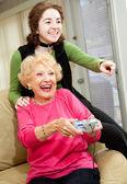Grandma Loves Video Games — Stock Photo