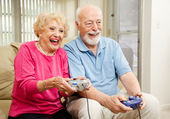 Senior Couple - Video Gaming — Stok fotoğraf