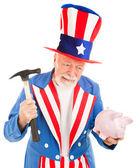 Uncle Sam Desperate for Cash — Stock Photo