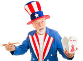 Uncle Sam Eats Chinese — Stock Photo