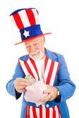 Uncle Sam Saving Money — Stock Photo