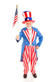 Uncle Sam with American Flag — Stock Photo