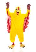 Chicken Man Hands Up — Stock Photo