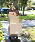 Delivery Man Coming Up the Walk — Stock Photo