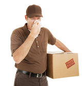 Delivery Man with Cold — Stock Photo