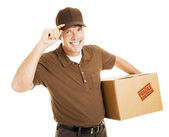 Polite Delivery Man Tips Hat — Stock Photo
