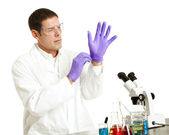Scientist Puts on Gloves — Stock Photo