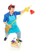 Cleaning Lady Fun — Stock Photo