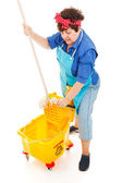 Cleaning Lady Wrings Mop — Stock Photo