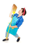 Maid Dancing with Broom — Stock Photo