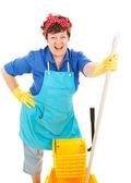 Maid genießt ihren job — Stockfoto