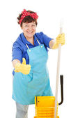 Maid Gives Thumbs Up for Cleanliness — Stock Photo