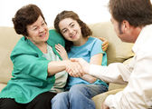 Mom and Teen with Counselor — Stock Photo