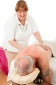 Massage Therapist Enjoys Work — Stock Photo