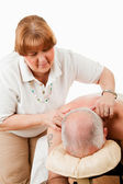 Massaging Tense Shoulders — Stok fotoğraf