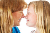 Mom and Daughter Face Off — Stock Photo
