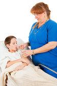 Nurse Administers Fluids — Stock Photo