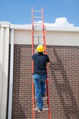 Construction Worker on Ladder — Stock Photo