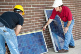 Electricians Measure Solar Panels — Stock Photo