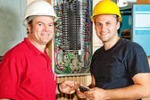 Friendly Electricians at Work — Stock Photo