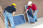 Measuring Photovoltaic Panels — Stock Photo
