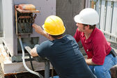 Repairing Industrial Air Conditioner — Stock Photo