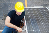 Solar Energy - Electrician Working — Stock Photo