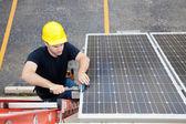 Solar Panel Repair with Copyspace — Stock Photo