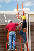 Workers Install Solar Panels — Stock Photo