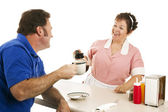Diner Waitress with Customer — Stock Photo