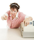Mean Old Lunch Lady — Stock Photo
