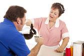 Waitress Gives Coffee Refill — Stock Photo