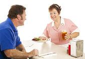 Waitress Serves Turkey Dinner — Stock Photo