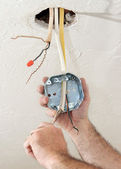 Electrician Wiring Ceiling Box — Stock Photo