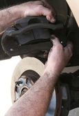 New Brake Pads in Caliper — Stock Photo