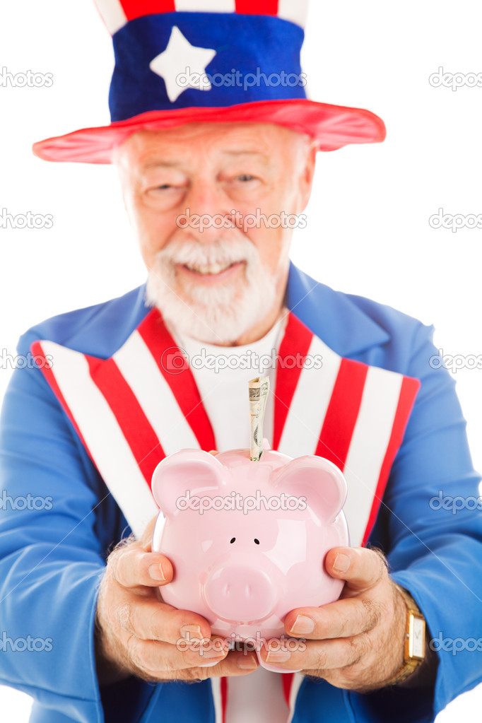 Closeup of Uncle Sam's hands as he holds a piggy bank with a 20 dollar bill in it.  Focus on the pig. — Stock Photo #6511785